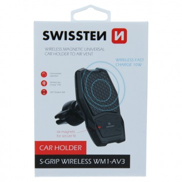 SWISSTEN Magnetic Car Holder With Wireless Charger WM1-AV3