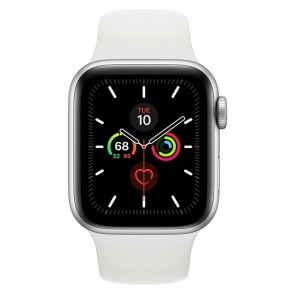 Apple Watch Series 5 40mm Silver Aluminum Case, White Sport Band