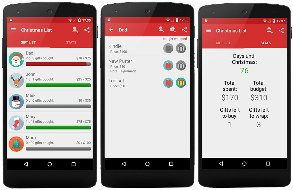 Kerst apps Christmas gift list